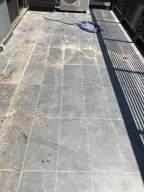 Balcony Ceramic Tile and Grout - before clean